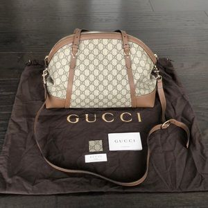 Brand New Gucci Monogram Tote with Beige Leather